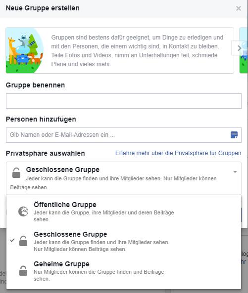 Facebook Gruppen erstellen